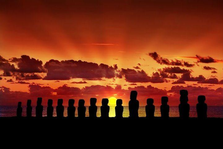 Sunset in Easter Island, Chile