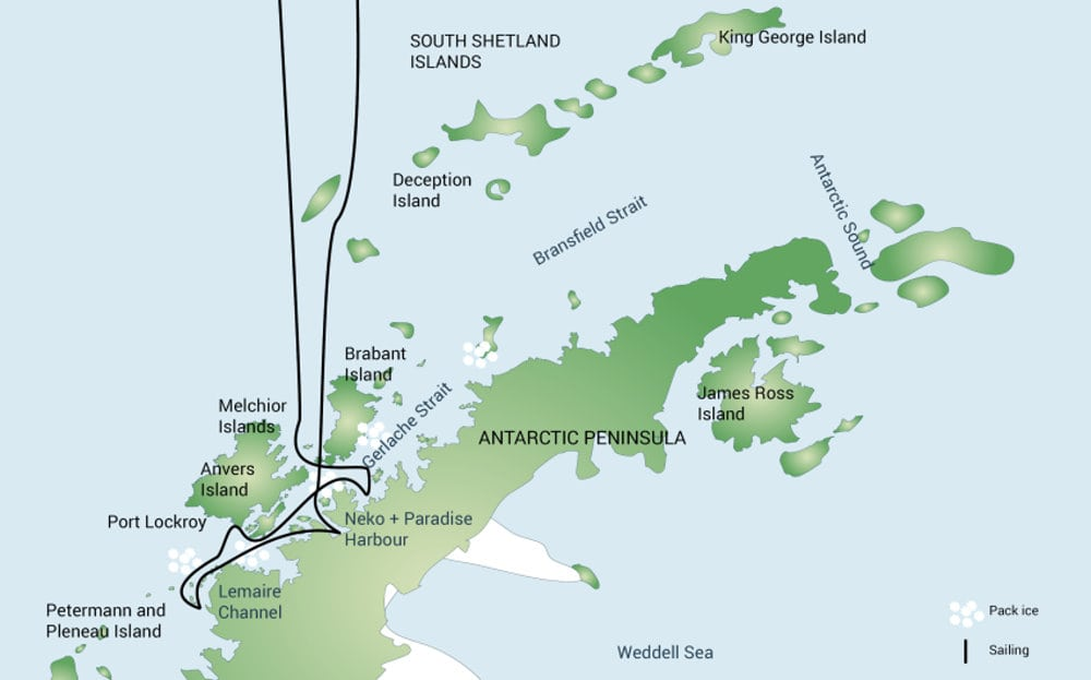 M/V Plancius - Antarctic Peninsula Itinerary Map