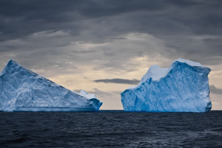 Icebergs Against a Dark Sky, Antarctica