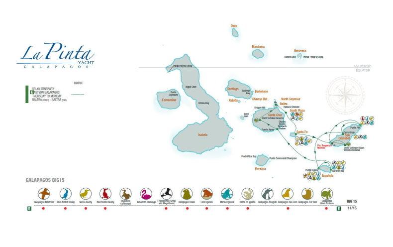 La Pinta Eastern Galapagos Islands Itinerary Map